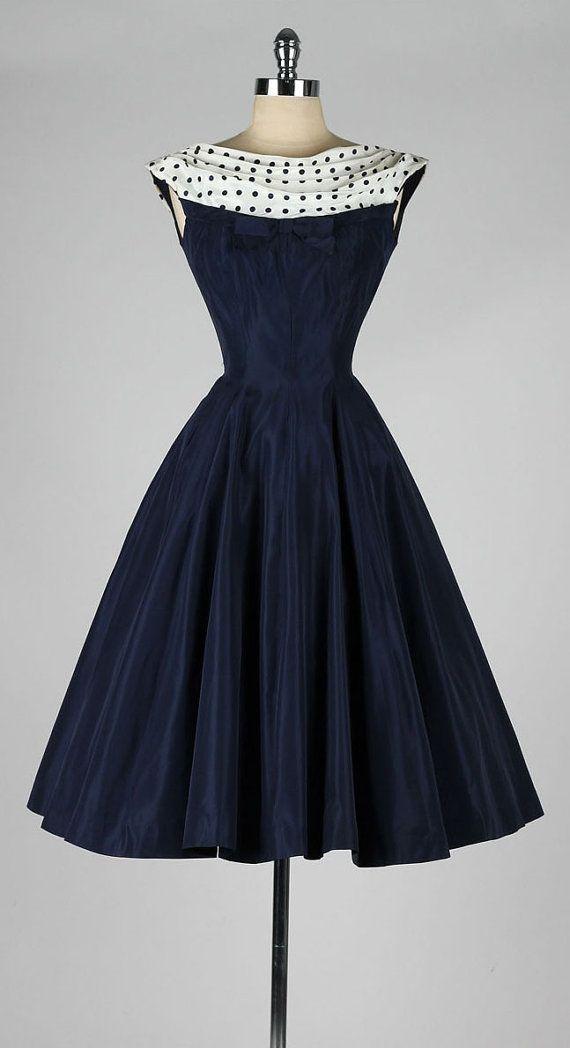 vintage 1950s dress . navy blue . polka dot