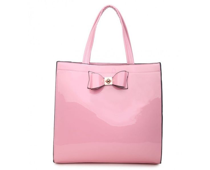 Pink Patent Shopper Bag with Bow - Extra Large Size - The Handbag Hut - The latest handbag trends at prices you can't resist!