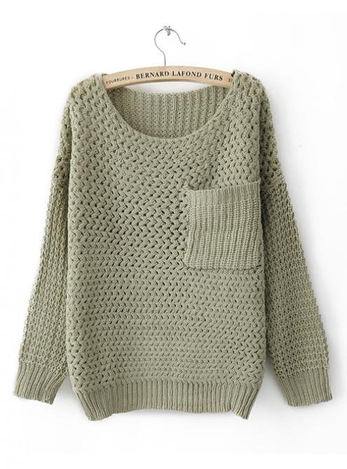 Round Neck Green Sweater with Pocket$45.00