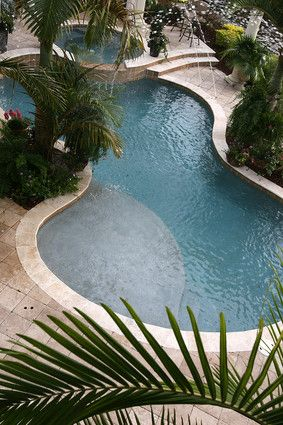 Free-form pool with wading ledge