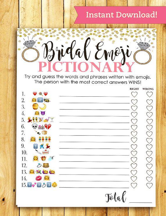 Bridal Shower Game Pictionary - EMOJI Pictionary - Coral and Gold - Instant Printable Digital Download - diy Bridal Shower Printables