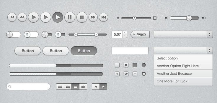 iTunes Inspired UI Kit (PSD)  http://www.premiumpixels.com/freebies/itunes-inspired-ui-kit-psd/