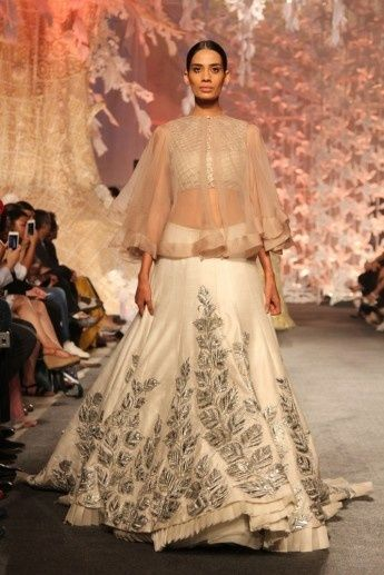 Sangeet Lehengas - White Lehenga with 3-D Silver Leaves   WedMeGood   White Lehenga with 3-D Embroidery, White Blouse and a Sheer Cape #wedmegood #indianbride #indianwedding #white #lehenga #3-D #floral #leaves