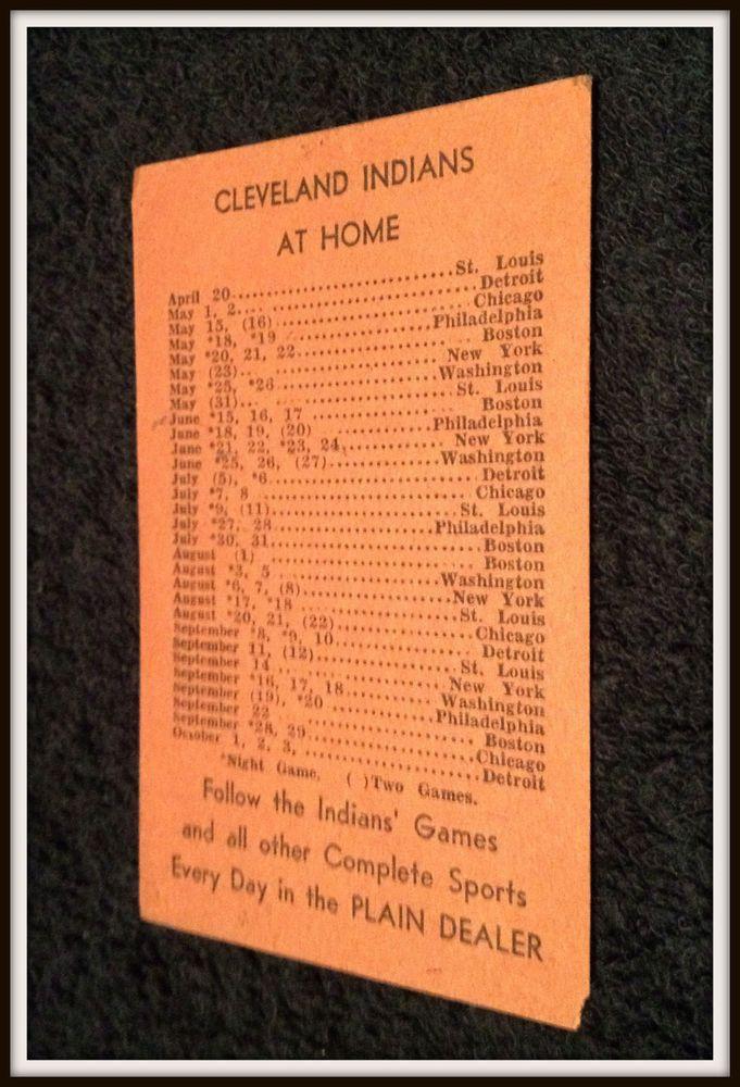 VINTAGE 1948 CLEVELAND INDIANS PLAIN DEALER BASEBALL POCKET SCHEDULE FREE SHIP #Pocket #Schedule