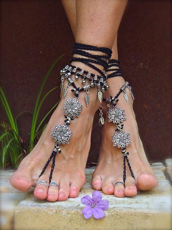 Black Silver BOHEMIAN BAREFOOT WEDDING sandals Bare feet by GPyoga