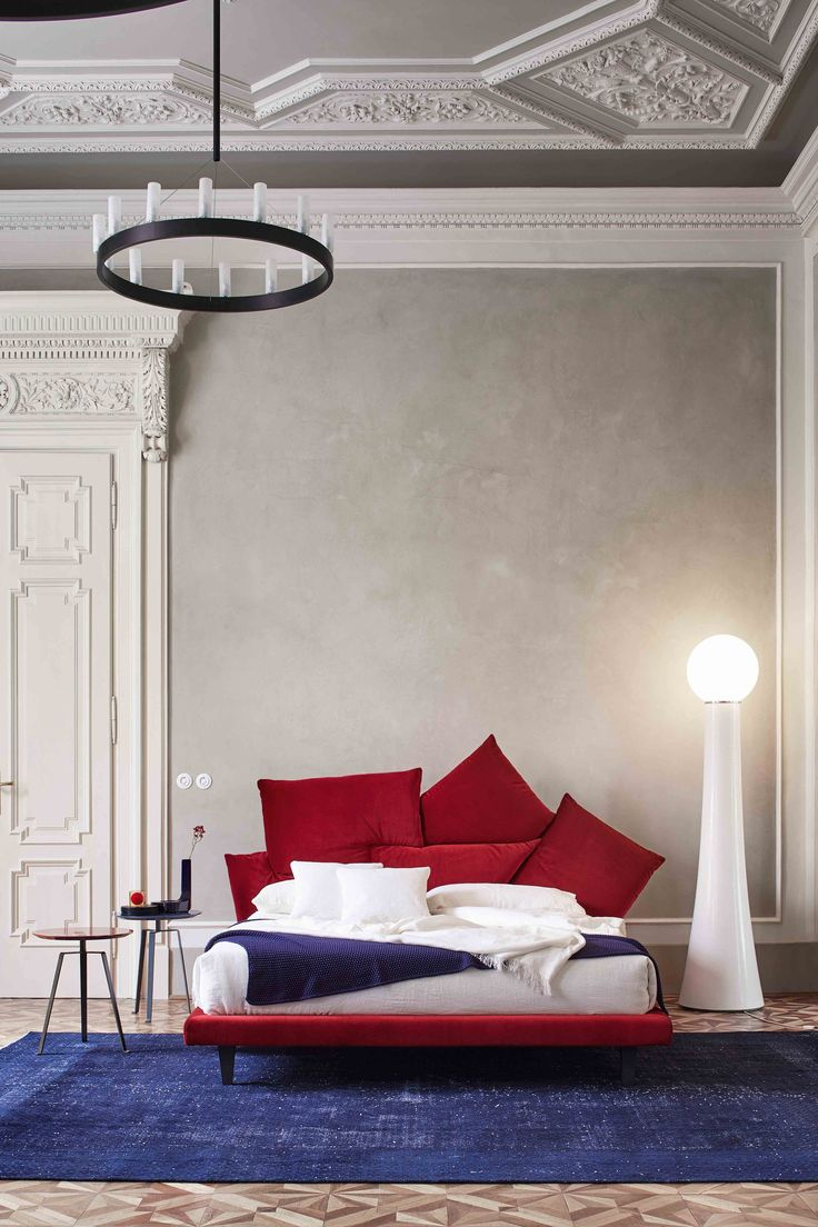 Fabric double bed with upholstered headboard PICABIA - @bonaldo