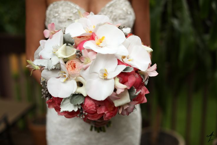 Adam Leffel Productions Bridal Couture. A beautiful and colorful bouquet featuring coral charm peony, peach garden roses, white mini calla, and white phalaenopsis orchids. #adamleffelproductions #bouquet #peony #roses #orchids #flowers #wedding #