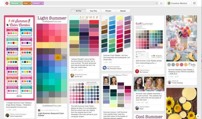 Ян Барнард, создатель компании Vintage Design Co, рассказывает, как он использует Pinterest: «Если бы я работал над созданием плаката о пляжном отдыхе, то я бы ввел в поиск на сайте запрос «летние цветовые палитры» и выбрал бы подходящий вариант».