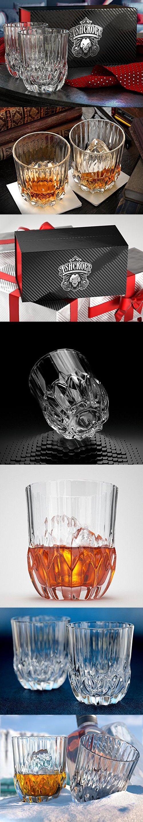 Glacier Whiskey Glasses, Scotch Glasses By Ashcroft - Set Of 2. Unique, Elegant, Dishwasher Safe, Glass Liquor and Bourbon Tumblers. Ultra-Clarity Glassware.