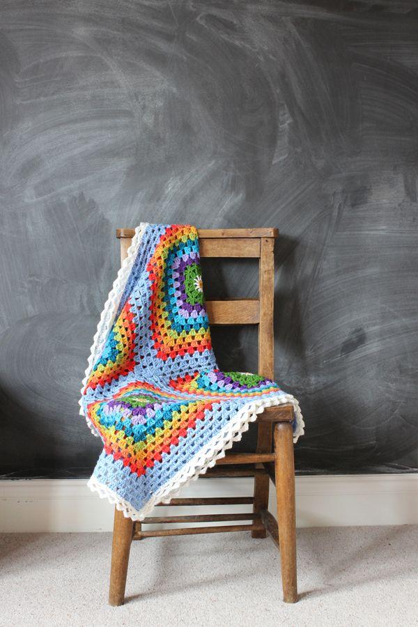 Rainbow crochet granny blanket | Growing Spaces