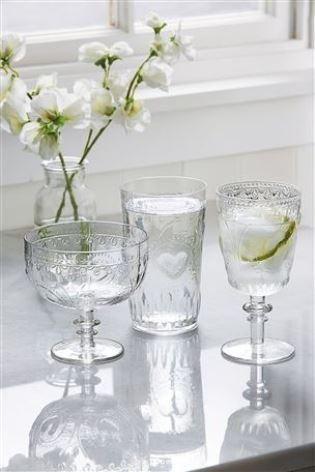 Heart moulded wine glasses