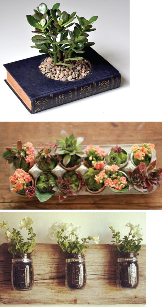 recycle indoor garden containers #indoorgarden I want all different types of containers. planters, tea pots, crates, mason jars, tea cups. And I want herbs and  succulents :) most definitely one of the best parts of our home.