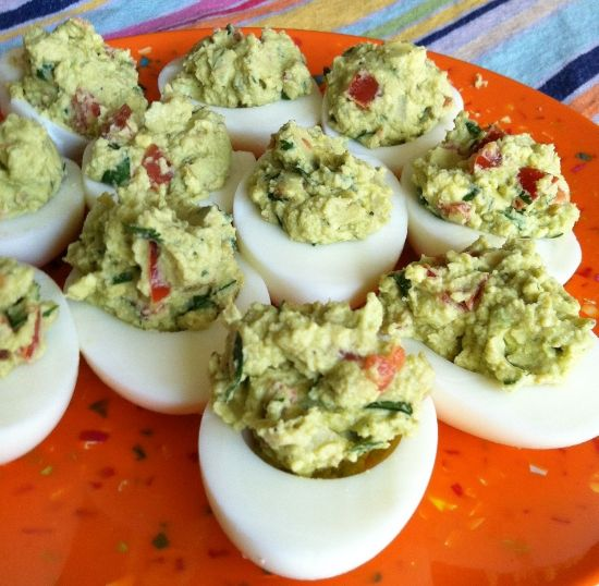 What?!  Deviled eggs with avocado instead of mayo, I think yes :)  Guacamole deviled eggs!