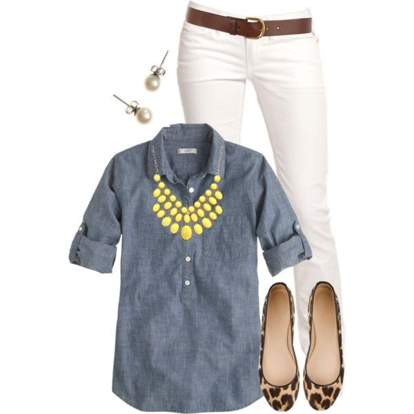 White pants, denim shirt, statement necklace, brown belt, and stud earrings