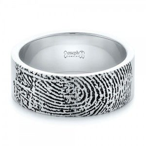 Custom Men's Engraved Fingerprint Wedding Band