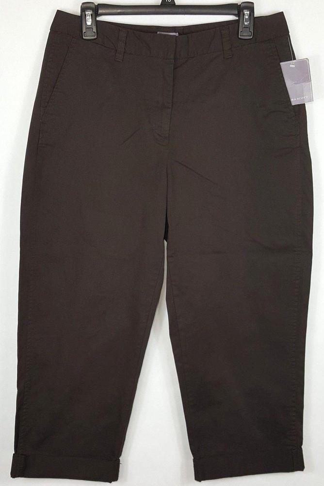 47ede2560b2c Laura Scott Women's Brown Signature Fit Cuffed Crop Capri Pants Size 10  #LauraScott #CaprisCropped #Any