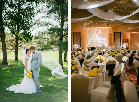 Beautiful navy and yellow wedding   Photos by Jeff Sampson Photography via Wedding Chicks