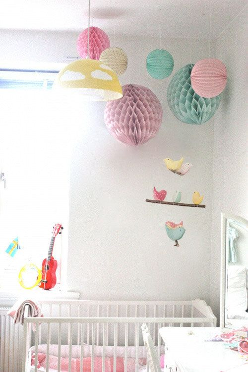 Bird Nursery Mobile - Hanging Crib/Cot Decoration - Handmade Birds in Teal, Yellow and Pink Cotton Fabrics. £40.00, via Etsy.