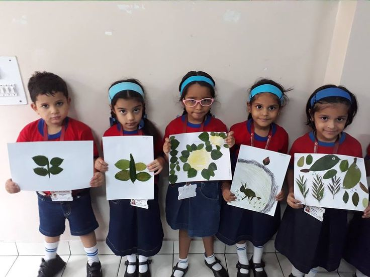 Grade LKG students enjoyed creating unique things out of leaves.
