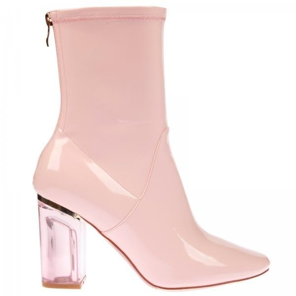 Chloe Pink Perspex Heel Pink Ankle Boot ($44) ❤ liked on Polyvore featuring shoes, boots, ankle booties, zipper ankle boots, zip ankle boots, pointy booties, short boots and patent leather ankle boots