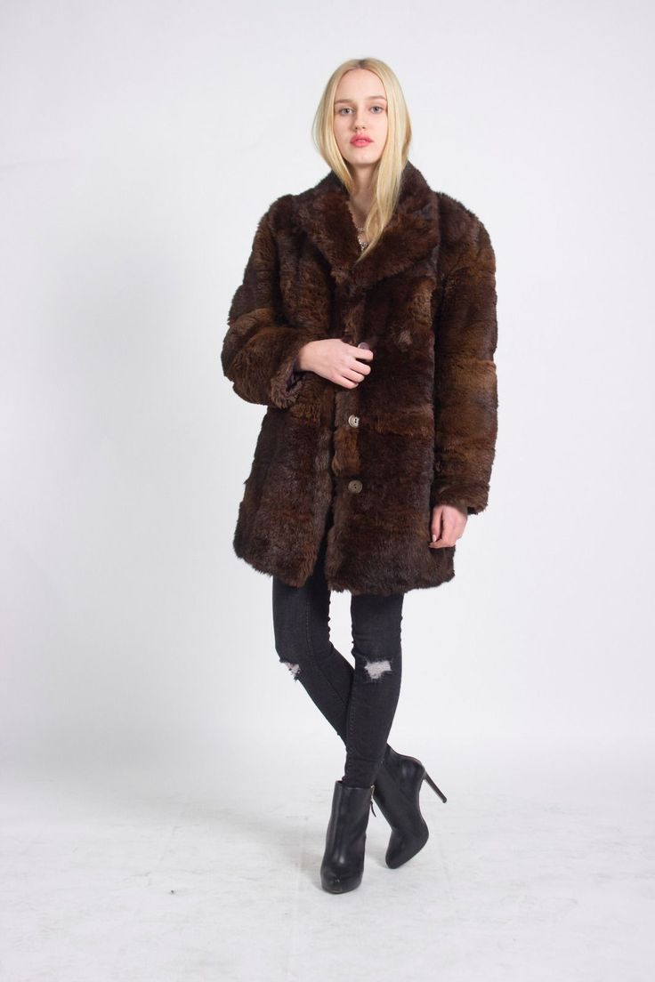 CHOUETTE FASHION, CHOUETTE VINTAGE, Street Style, London Look, Vintage, London VIntage, LUXURIOUS LONDON LOOK STUNNING UNIQUE VINTAGE BROWN REAL FUR COAT JA…