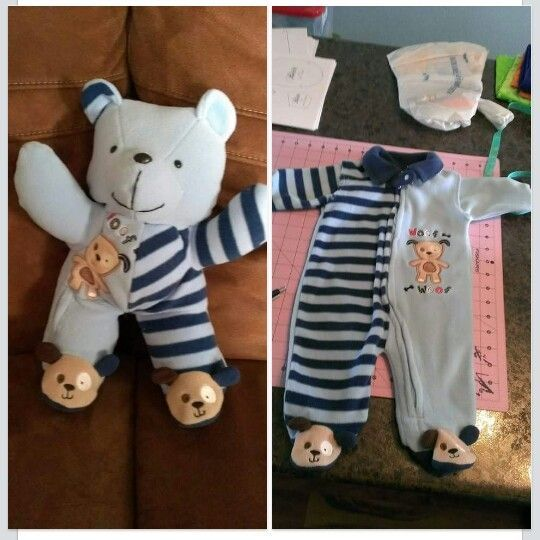 Make a teddy bear from footie pajamas. Great keepsake of your favorite jammies your growing baby had, or a good gift to make.