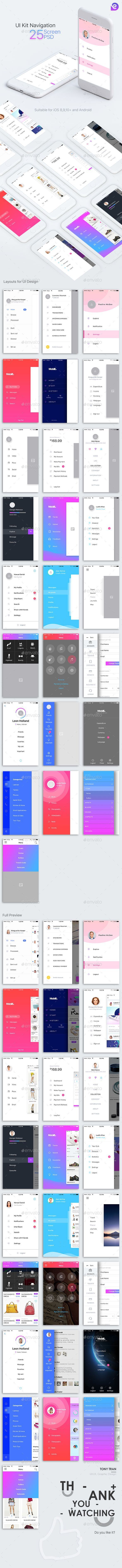 Mobile Theme UI Kit   Navigations - #User Interfaces #Web Elements Download here: https://graphicriver.net/item/mobile-theme-ui-kit-navigations/20010237?ref=alena994