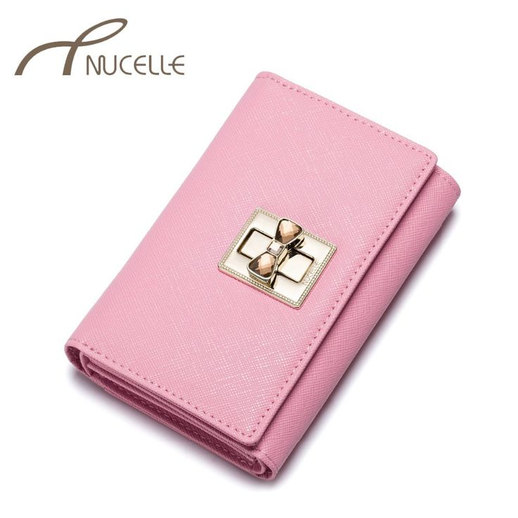 Nucelle Split Leather Women Wallets Female Sweet Lock Cowhide Wallet Ladies Leather Short Style Trifold Purse Money Clips 0186 #Affiliate