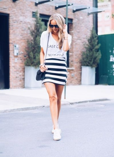 """What do you get when you can nab two of my """"Under 100 Club"""" summer scores for even less? Summer sales, that's what! Now's the time! This striped mini skirt + slide on sneaks combo can make any message tee look like a Summer superstar! Get them now for even less than their usual bargain! Shop on below!\r\n\r\nMy Look: Skirt, Topshop/Sneakers, Marc Fisher/Bag, Rebecca Minkoff/Shades, Perverse Sunglasses\r\nPhoto: Gabriel Brandt #ssCollective #ootd #mylook #MyShopStyle #currentlywearing…"""