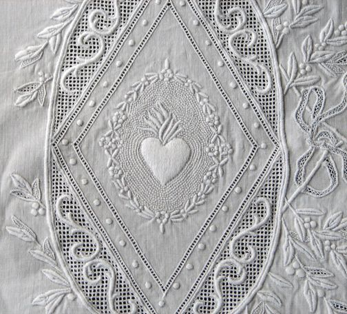 "Appenzel wedding sheet. Made for a member of the Royal Family, intetwined ""C"" initials with a embroidered crown at the top."