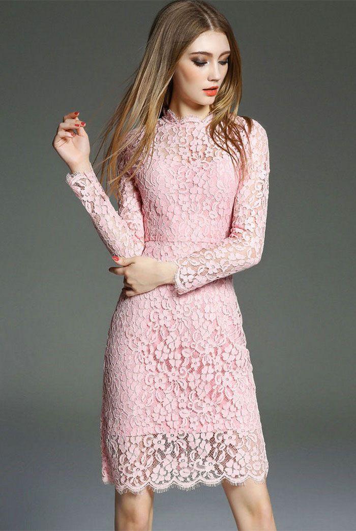 2ee01aee32b Tenue de soirée femme robe ceremonie femme 50 ans idée tenue simple robe  dentelle rose