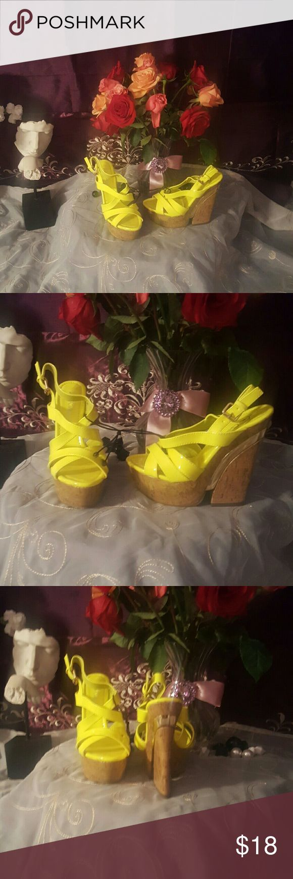 ☉Bright yellow strappy wedges☉ 4.5 in cork heel with gold trim Shoes Wedges