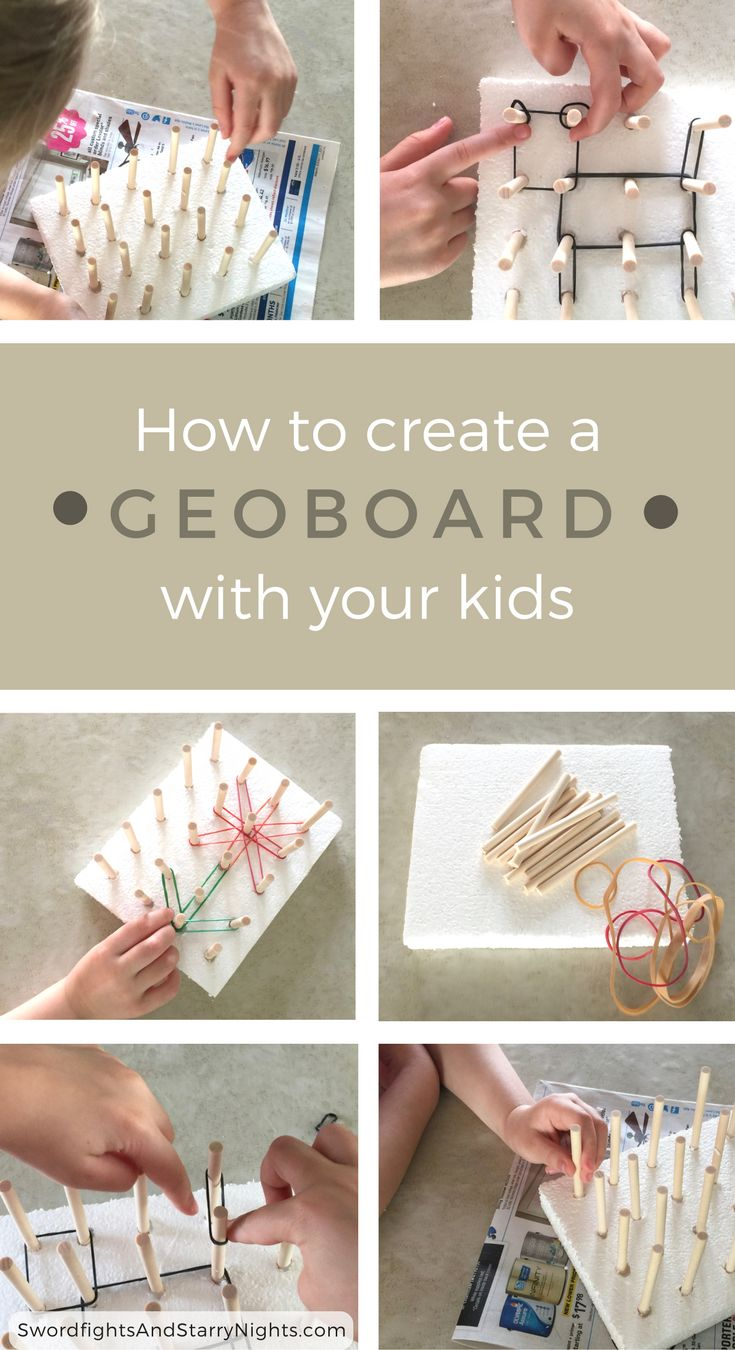 Creating a geoboard is a fun STEAM activity you can do with your kids. They'll quickly be designing geometric shapes and patterns while having a blast!  STEM, Science Tots, education,  learning