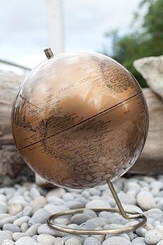 Copper World Map Globe