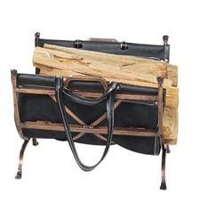 Античная медь кованого железа входа держатель с кожаным Log Carrier