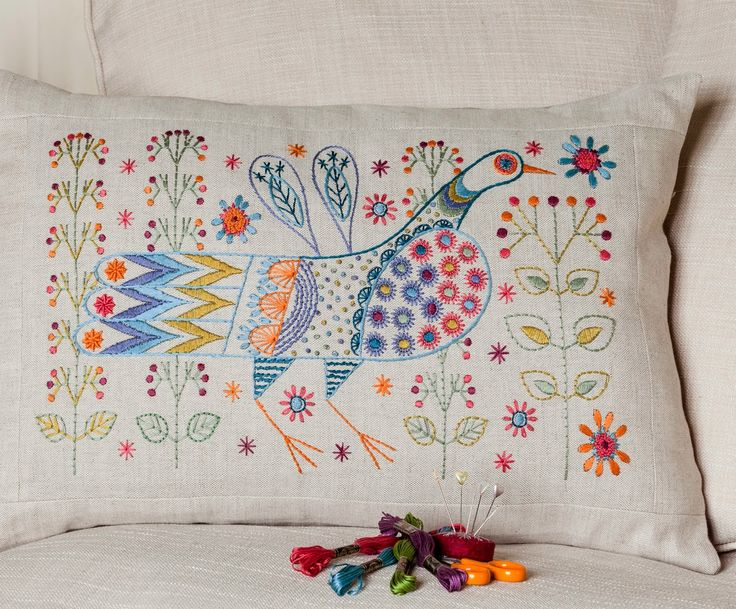 Long Tail Bird Cushion kit by Nancy Nicholson