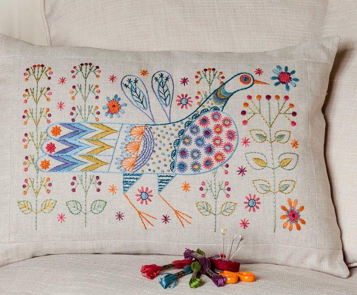 Long Tail Bird Cushion kit by Nancy Nicholson