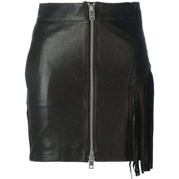 Diesel fringed leather skirt (6.503.315 IDR) ❤ liked on Polyvore featuring skirts, black, real leather skirt, knee length leather skirt, leather fringe skirts, genuine leather skirt and leather skirt