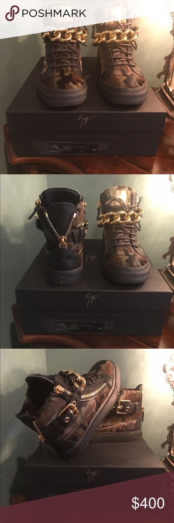 GIUSEPPE ZANOTTI sneakers Giuseppe Zanotti camouflage chain pony high top sneakers. Gold tone chain trim, side & back zip fastening with flat rubber sole. Gold tone GZ logo plate on tongue. 🆕-with dust bag & box. 100% authentic. (Cannot find certificate in box) Smoke free 🏡 Giuseppe Zanotti Shoes Sneakers