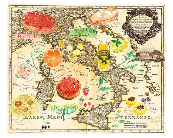 Map art print, Italian food watercolor illustration on vintage map of Italy, Kitchen decor, 8X10 poster, Cooking Food Recipe map artwork. $25.00, via Etsy.