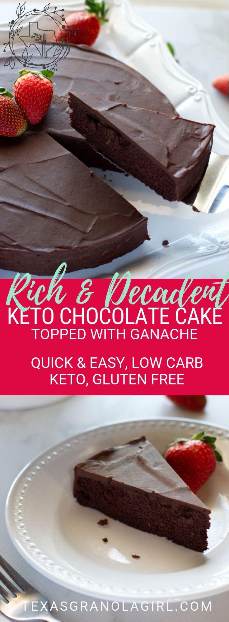 Keto-Schokoladenkuchen mit Ganache   – Low Carb Gebäck und Süßes