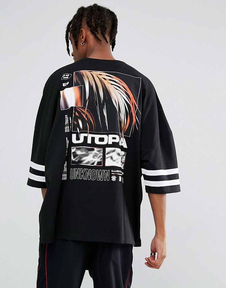 ASOS Extreme Oversized T-Shirt With Utopia Back Print & Stripe Sleeves