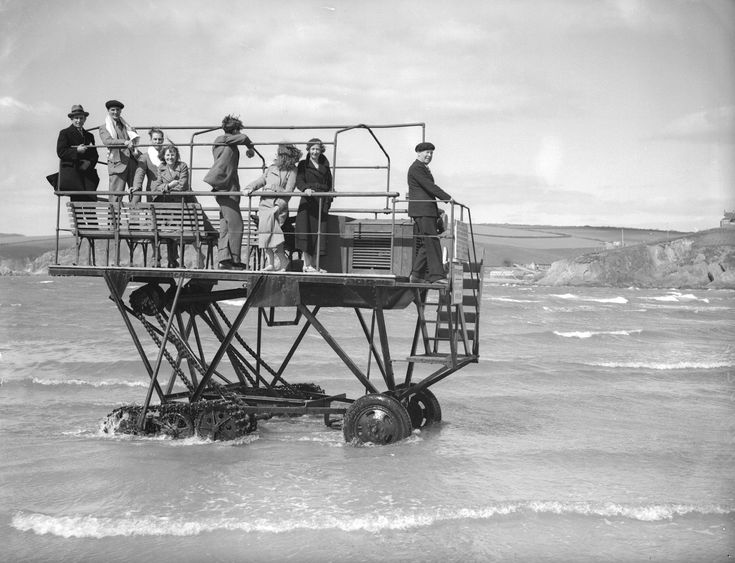 Caterpillar driven ferry, Burgh Island, 1934