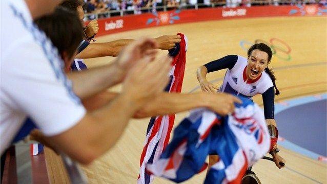 Dani King celebrates winning the gold medal- team GB