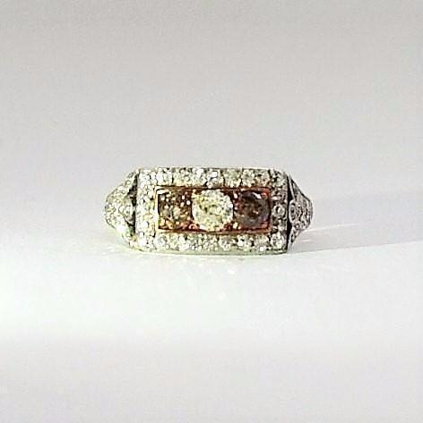 Art Deco Yellow Gold Diamond Panel Ring