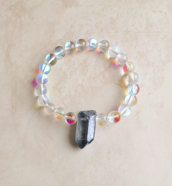 Cosmic Awareness Bracelet  Opal Aura Quartz by InnerFireJewelry