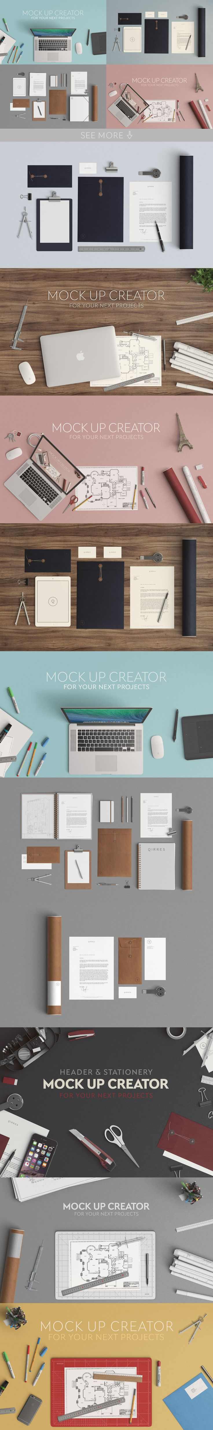 DESCRIPTION Create your stationery or header mock up. So you save money as you can do two different types of mock up with the same files. Lot of items have multiple positions for a better