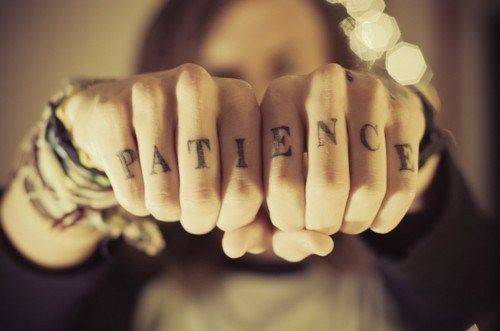patience tattoo on fingers
