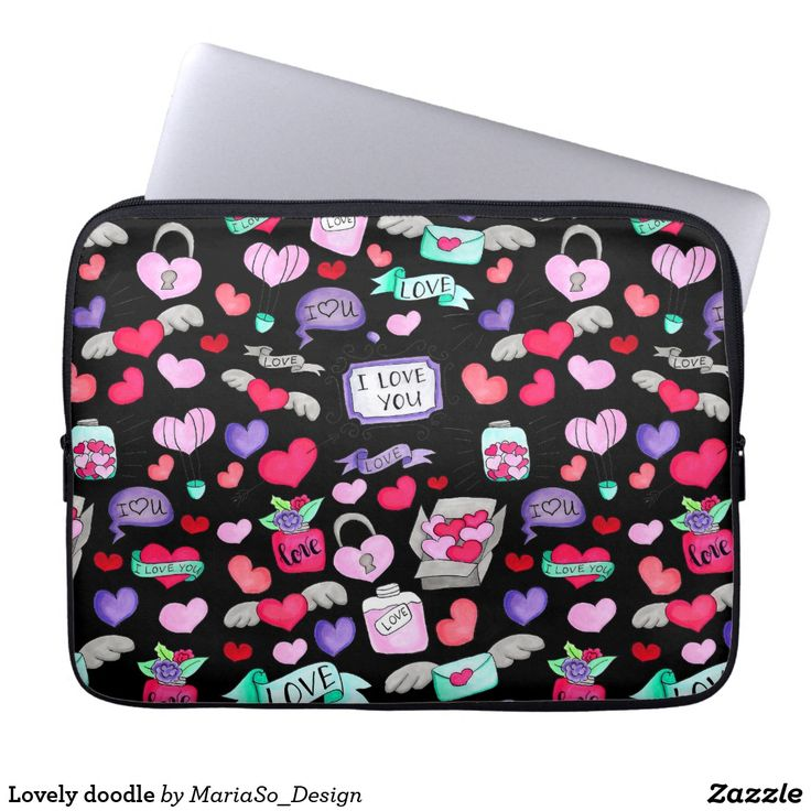 Lovely doodle laptop sleeve