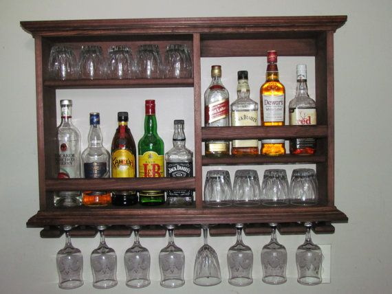 Mini Bar Red Mahogany stain Wine rack liquor by DogWoodShop